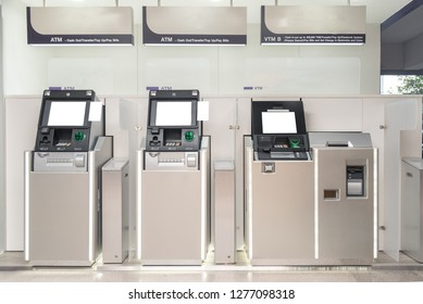 Atm machine with a card in card reader. Display screen, buttons, cash dispenser and receipt printer. Pin code safety, automatic banking, electronic cash withdrawal, bank account access concept.