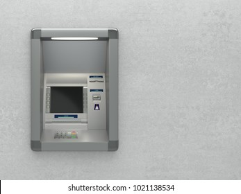 Atm machine isolated on white background, front view. 3D illustration