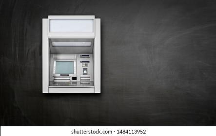 Atm Machine on blackboard background