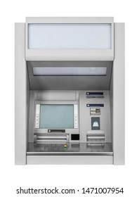 Atm Machine -Wall cash dispense isolated on white, including clipping path
