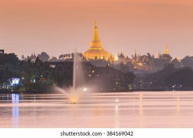 atmosphere of dusk at Shwedagon pagoda in Yangon, Myanmar