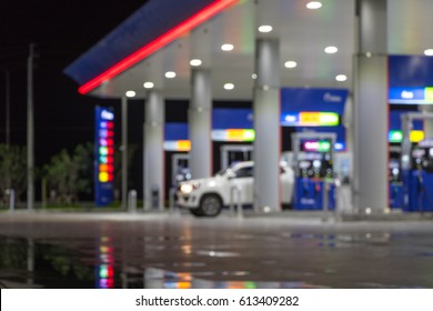 The Atmosphere Lighting Blurred in Gas station at night
