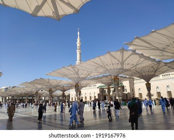 The atmosphere of the Nabawi mosque with a blue sky background (18 Dec 2019)