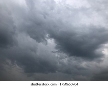 Atmosphere of overcast dusk sky before to rainy. Moody natural weather background. Dramatic storm cloudy and dark sky.