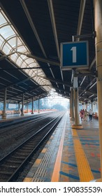 The atmosphere at railway station in the morning