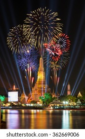 Atmosphere Wat Arun in night, It is spectacular, This is an important buddhist temple of thailand and a famous tourist destination.