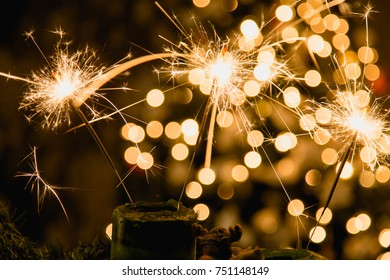 Atmospheric Christmas background with fireworks