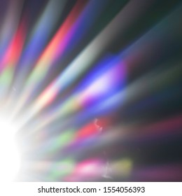 Atmospheric and dreamy image of the sunlight. Colorful wallpaper or sunny background with the beams of light. Natural electromagnetic radiation of the visible light with a blue lens flare.