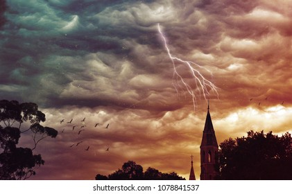 Atmospheric grunge textured stormy sky and lightning over a church. Abbotsford Convent, Melbourne, Victoria, Australia. Digital photo manipulation. Religious, apocalypse, gothic, ethereal concepts.