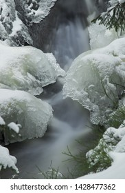 Atmospheric ice picture on the Rissfälle located in Vogtland, Germany.