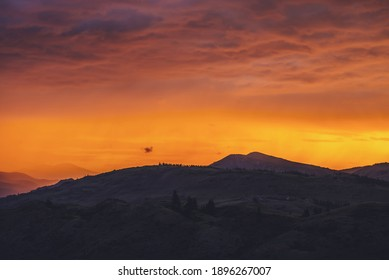 Atmospheric landscape with silhouettes of mountains with trees on background of vivid orange pink violet dawn sky. Colorful nature scenery with sunset or sunrise of illuminating color. Sundown paysage