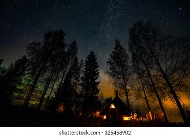 Atmospheric night at hut