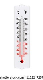 Atmospheric plastic meteorology thermometer for measuring air temperature isolated on white background. Temperature minus 30 degrees celsius