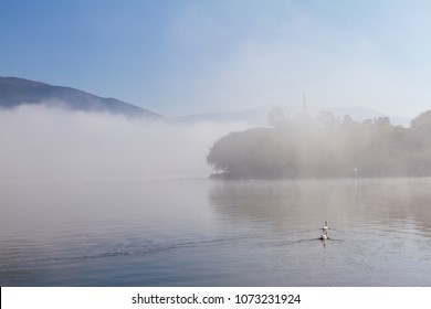 Atmospheric scene of Lake Pamvotis on a misty morning in Ioannina, Greece, with two swans and Aslan Pasha mosque in the background