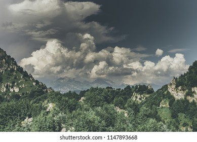 atmospheric turbulence in a beautiful mountain landscape