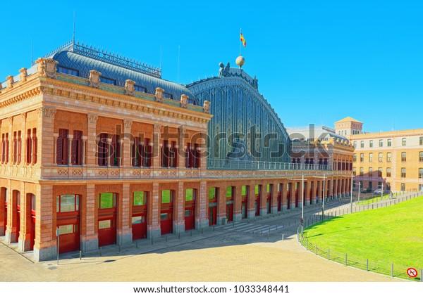 Atocha railways  Station at Plaza del Emperador Carlos V (Emperor Charles V Square). Atocha station, the largest transport hub of the capital of Spain.