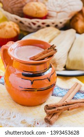 Atole de chocolate, mexican traditional beverage and tamales, Made with cinnamon and chocolate in Mexico