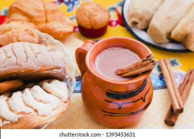 Atole de chocolate, mexican traditional beverage and bread, Made with cinnamon and chocolate in Mexico