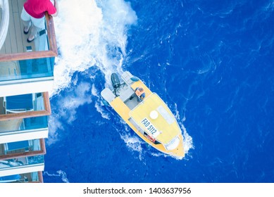 Atoll Tureia, also called Papahena. Rescue Boat for a medical emergency while cruising with Costa Luminosa the Pacific Ocean. On February 2019