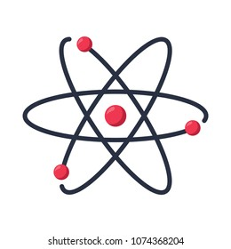 Atom icon symbol. Chemistry and science research. Structure of the nucleus of the atom. Around gamma waves and protons, neutrons and electrons. New technology concept