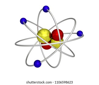 atom proton electron neutron atomic physics 3D illustration