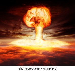 Atomic bomb explosion mushroom above the sky