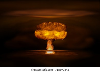 Atomic bomb realistic explosion, orange color with smoke on black background