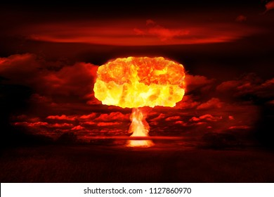 Atomic bomb realistic explosion, red color with smoke on black background