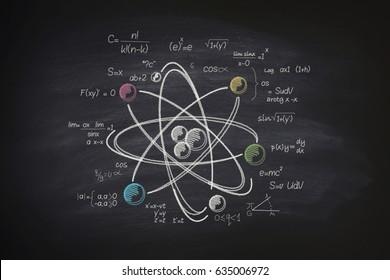 Atomic molecule on blackboard