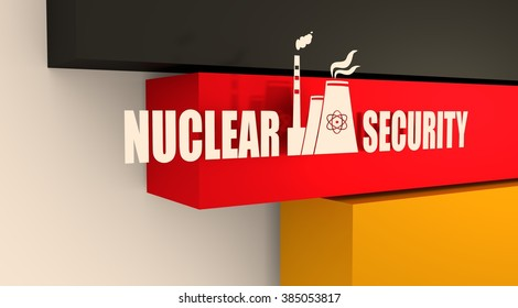 Atomic power station icon. Nuclear security text. Germany flag backdrop