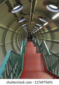 Atomium. Metal stairs in the tunnel