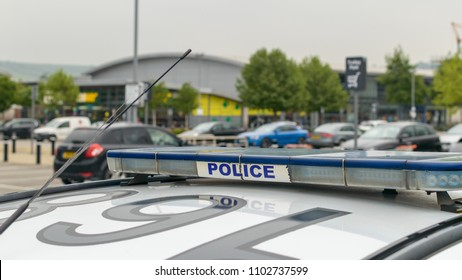 Atop Of English Police Car A, Emergency Police Car Roof Light Bar, shallow depth of field