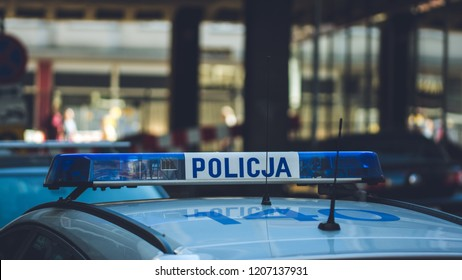 Atop of Polish Police Car, Lights Mounted on the Roof of Polish Police Car, Shallow Depth of Field horizontal photography