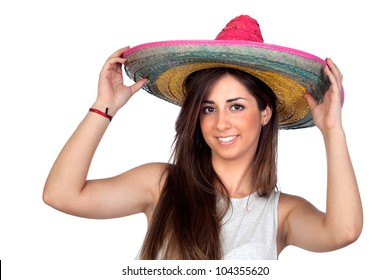 Atractive girl with a mexican hat isolated on white background