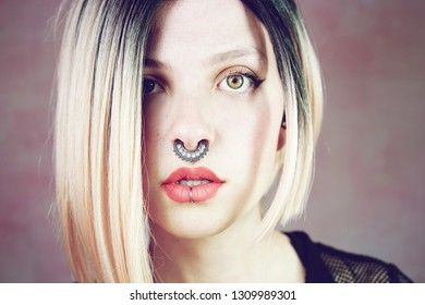 Atractive young and punk woman with ombre hairstyle