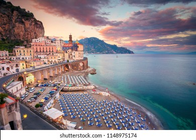 Atrani. Aerial view of Atrani famous coastal village located on Amalfi Coast, Italy.