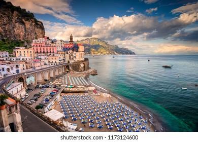 Atrani. Aerial view of Atrani famous coastal village located on Amalfi Coast, Italy.