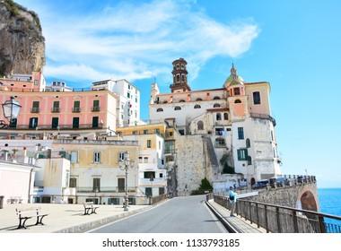 Atrani / Italy — September 18, 2017: view of Atrani, a small village at Amalfi Coast, Italy