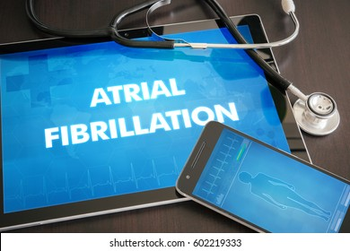 Atrial fibrillation (heart disorder) diagnosis medical concept on tablet screen with stethoscope.
