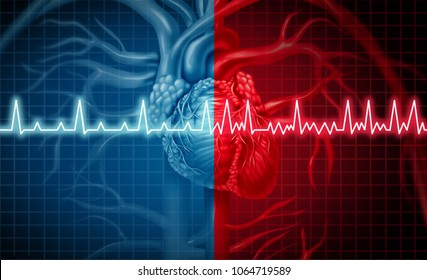 Atrial fibrillation and normal or abnormal heart rate rythm as a cardiac disorder as a human organ with healthy and unhealthy ecg monitoring in a 3D illustration style.