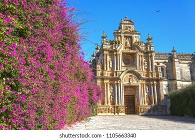 Atrium with flowers of the Charterhouse of Jerez de la Frontera, Cádiz. Monasteryalso known as La Cartuja de Jerez.