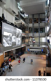 Atrium of Newseum in Washington DC, vertical