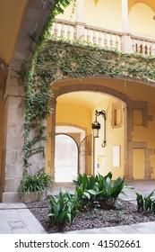 Atrium with small garden in a Spanish Villa in Barri Gotic, Barcelona, Spain