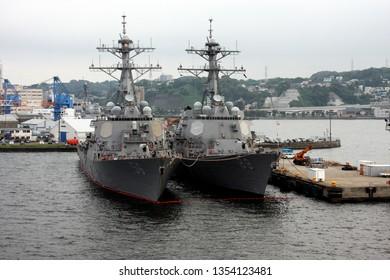 Atsugi, Japan, August, 21, 2011 Two American warships in port at Atsugi Japan