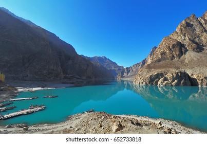 Attabad Lake In Gojal Valley of Northern Pakistan, Along Karakoram Highway