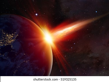 "Attack of the asteroid (meteor) on the Earth ""Elements of this image furnished by NASA"