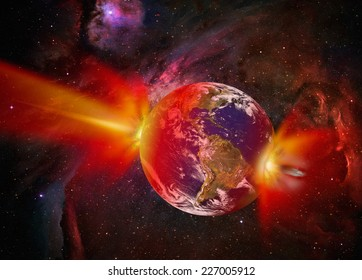 """Attack of the asteroid on the Earth """"Elements of this image furnished by NASA"""