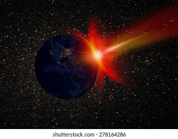 """Attack of the asteroid on the Earth """"Elements of this image furnished by NASA """""""