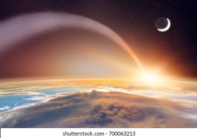 """Attack of the asteroid on the Earth  """"Elements of this image furnished by NASA"""""""