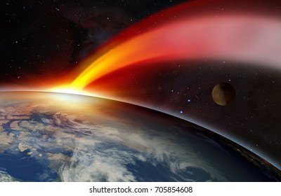 "Attack of the asteroid on the Earth ""Elements of this image furnished by NASA"